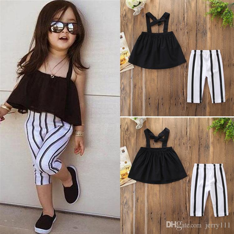 Toddler Kid Baby Girl Clothes Sleeveless Tops Stripe Leggings Outfits Set 1-6Y