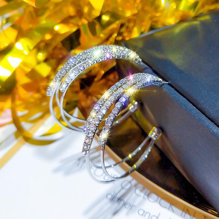 925 orecchini d'argento Europa esagerato cerchio geometrica pieno di diamanti temperamento coreano orecchini selvatici a C femmina orecchino caldo di vendita