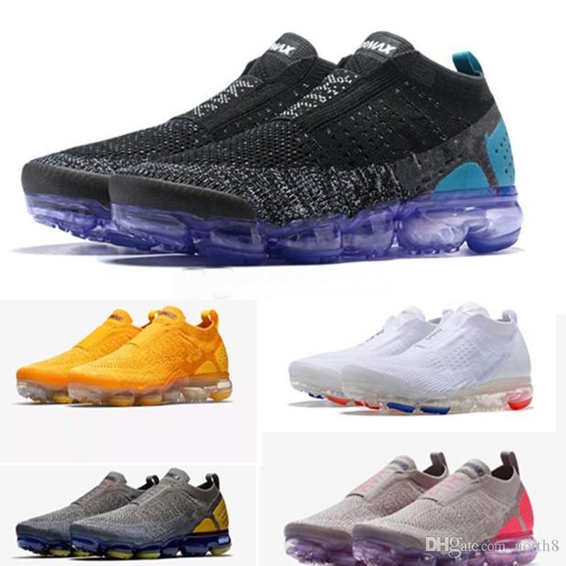 vapormax vapor max air Chaussures Moc 2 Laceless 2.0 Outdoor Schuhe Triple Mens Damen Sneakers Fly White Knit Luftkissen Trainer Zapatos Größe 5.5-11