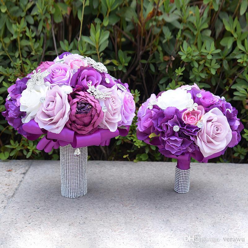 Viola artificiale rosa peonia mix di fiori strass cristallo nozze bouquet da sposa fatti a mano sposa damigella d'onore fiori matrimonio due dimensioni