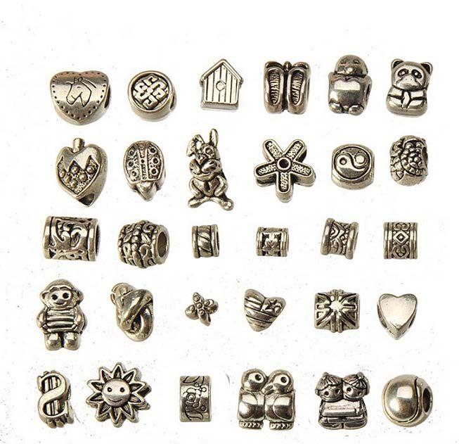european charms beads mixed set diy metal big hole antique silver bracelets wholesales bangles necklaces pendants jewelry findings 150pcs