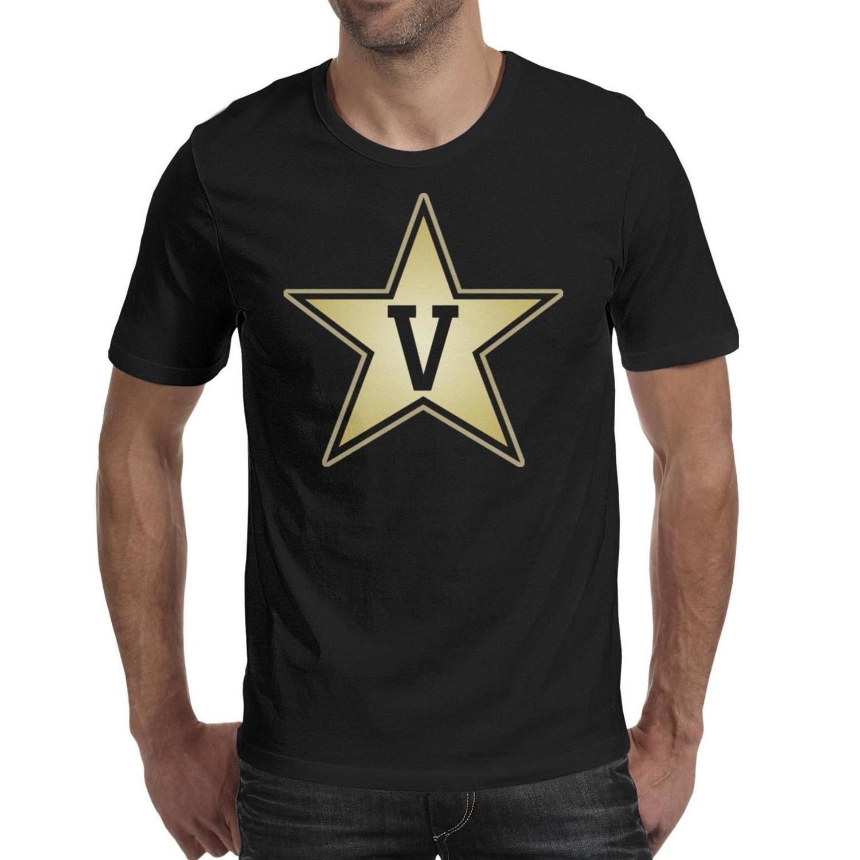 Мужская печать Vanderbilt Commodores футбол Золотой логотип черная футболка Персонализированные Awesome Band Shirts Партия Core Smoke Gay pride