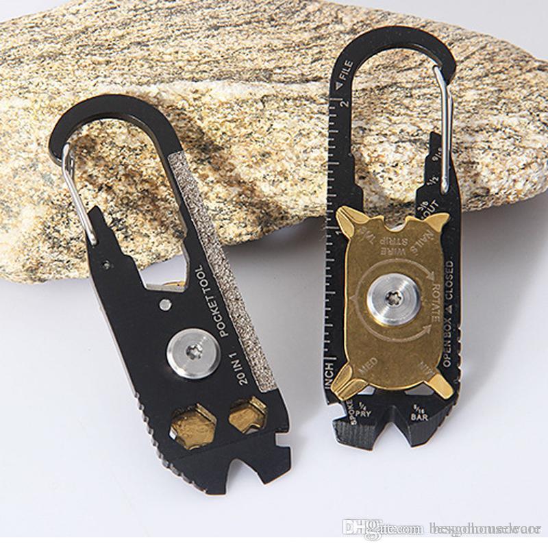 Survival portátil Keychain Bolso 20 em 1 de aço multifuncional chave de fenda chave Opener inoxidável exterior Utility portátil Ferramentas BC BH1308