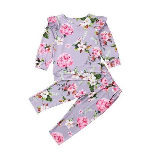 Bambino Bambini Bavaglino neonato della ragazza di stampa dei fiori con volant Fly a maniche lunghe T-Shirt Top + pantaloni lunghi attrezzature dei bambini cotone set Casual