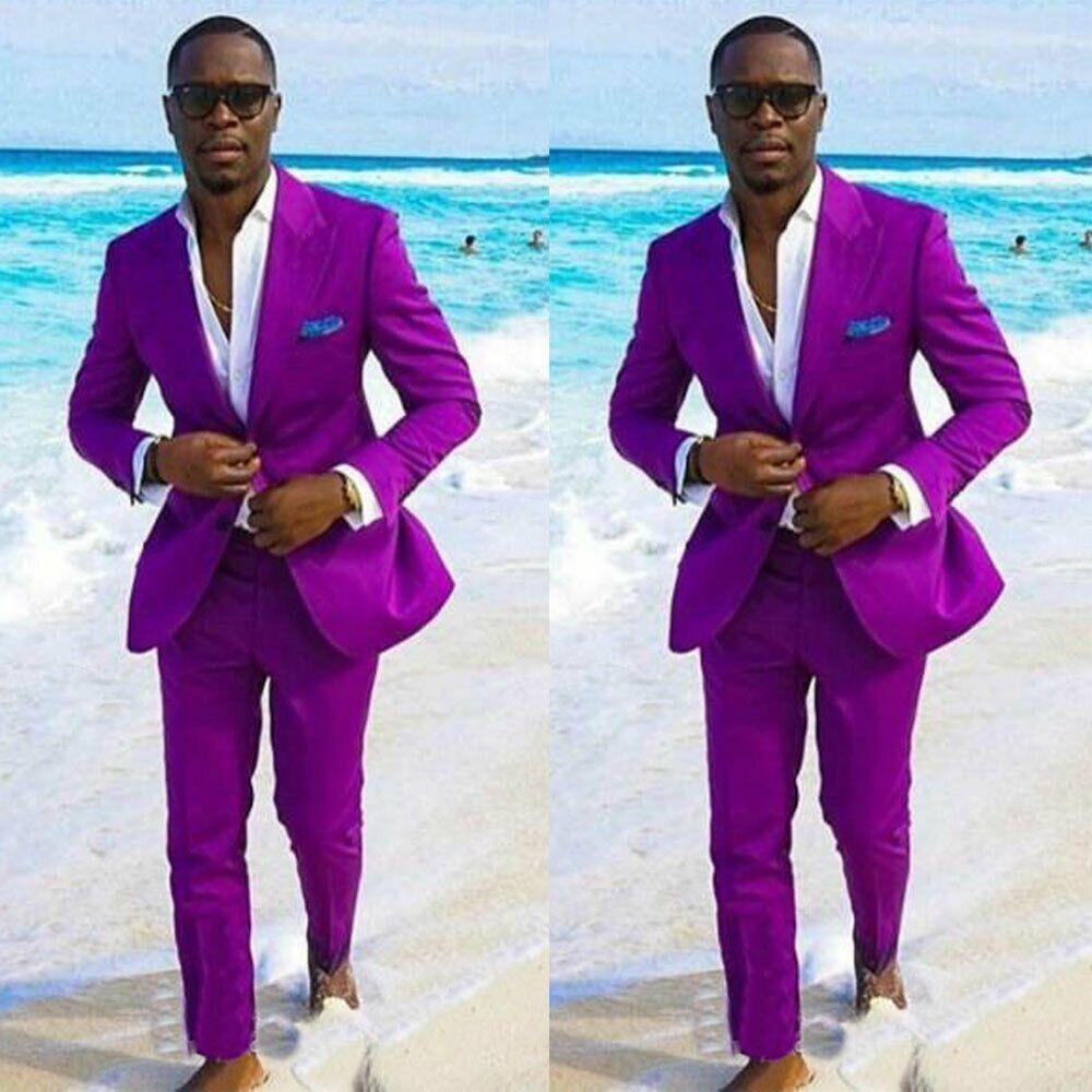 Handsome Costumes de mariage pourpre des hommes de pointe Groomsmen Deux boutons Lapel smokings marié plage formelle Best Man Blazer (veste + pantalon)