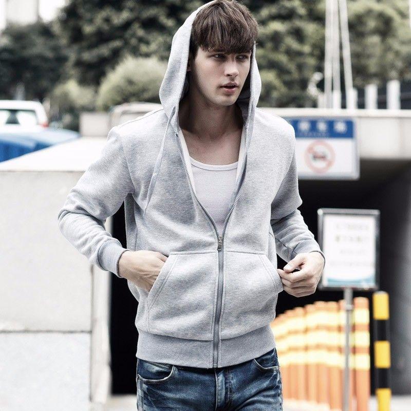 Alta Qualidade Men Sólidos Brasão cores com capuz Zipper Up Outono Homens Winter Jacket Algodão Quente Casual Outdoor Menino que funciona Clothes