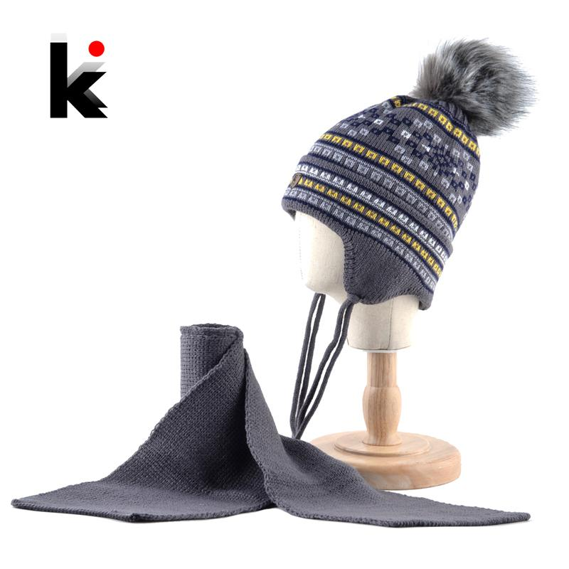 K Brand Kids Winter Hat Scarf Set For Boys Imitation Fur Pompom Knitted Beanie Baby Children Warm Hats With Ear Protection Cap