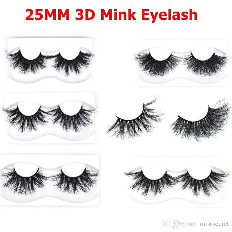 YENI 3D Vizon Kirpikler Doğal Yumuşak Yanlış Eyelashes 25mm Dramatik Vizon Kirpikler Zulümsüz Hafif Sahte Göz Lashes Makyaj aracı