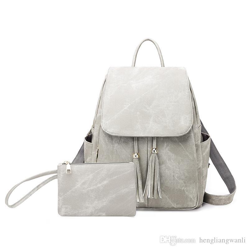 2019 горячей новой мода классической женской колледж колледжа рюкзак кисточки женских сумки сумка модных сумки сумка