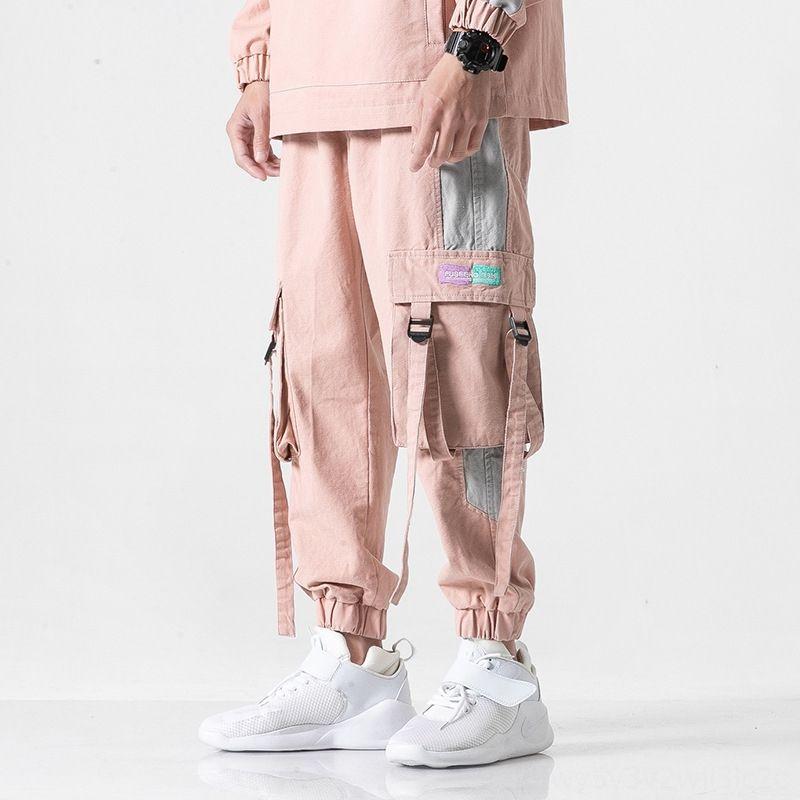 Брюки весна осень розовый хип-хоп Мужчины рыхлой Эластичный пояс мужские мужские Одежда штанах мужские Joggers Side Big Карманы Streetwear Брюки