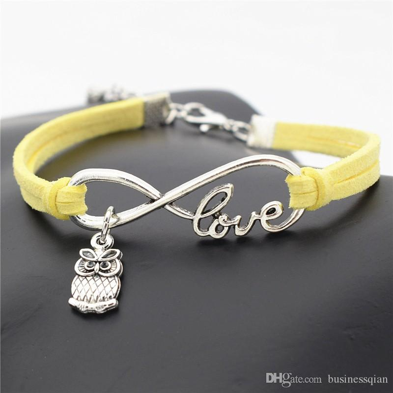 Braided Yellow Leather Wrap Wax Rope Infinity Love Cute Animal Owls Cuff Charm Bracelet Bangles Personlized Women Men Christmas Gift Jewelry