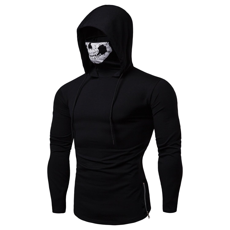 2019 moletons Hoodies homens moda elegante legal SKULL impresso capuz com capuz jogo de gola alta com zíper designer de camisolas