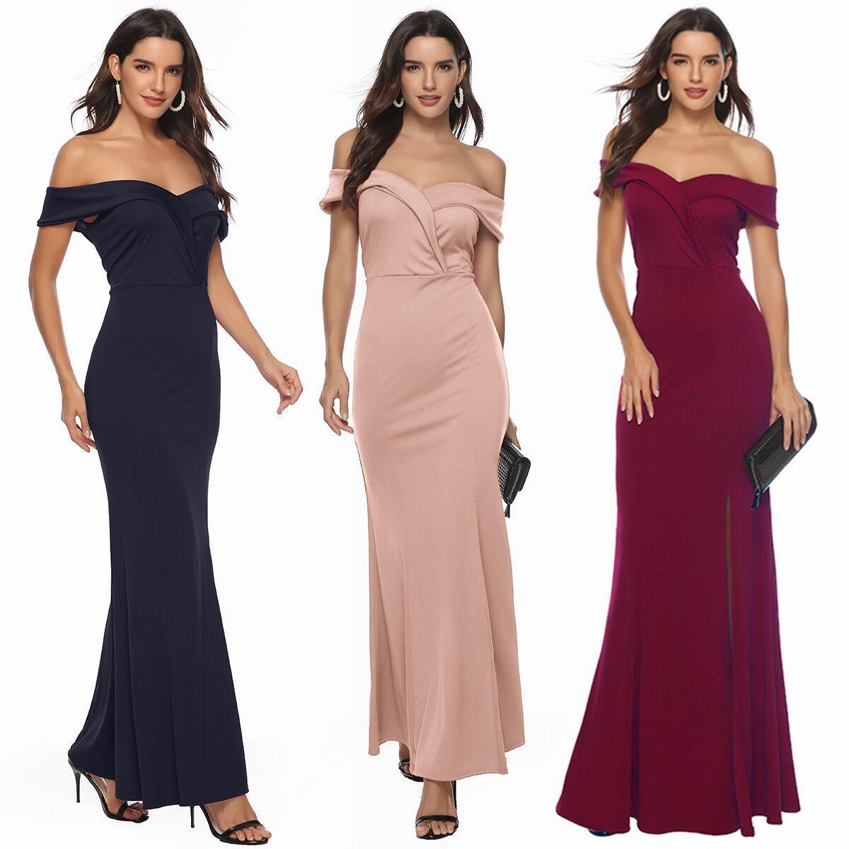 2020 Frauengrenzüberschreitende Explosion Modelle in Europa und Amerika den neuen V-Ausschnitt Kleid Bankett Abendkleid Schlitz Rock
