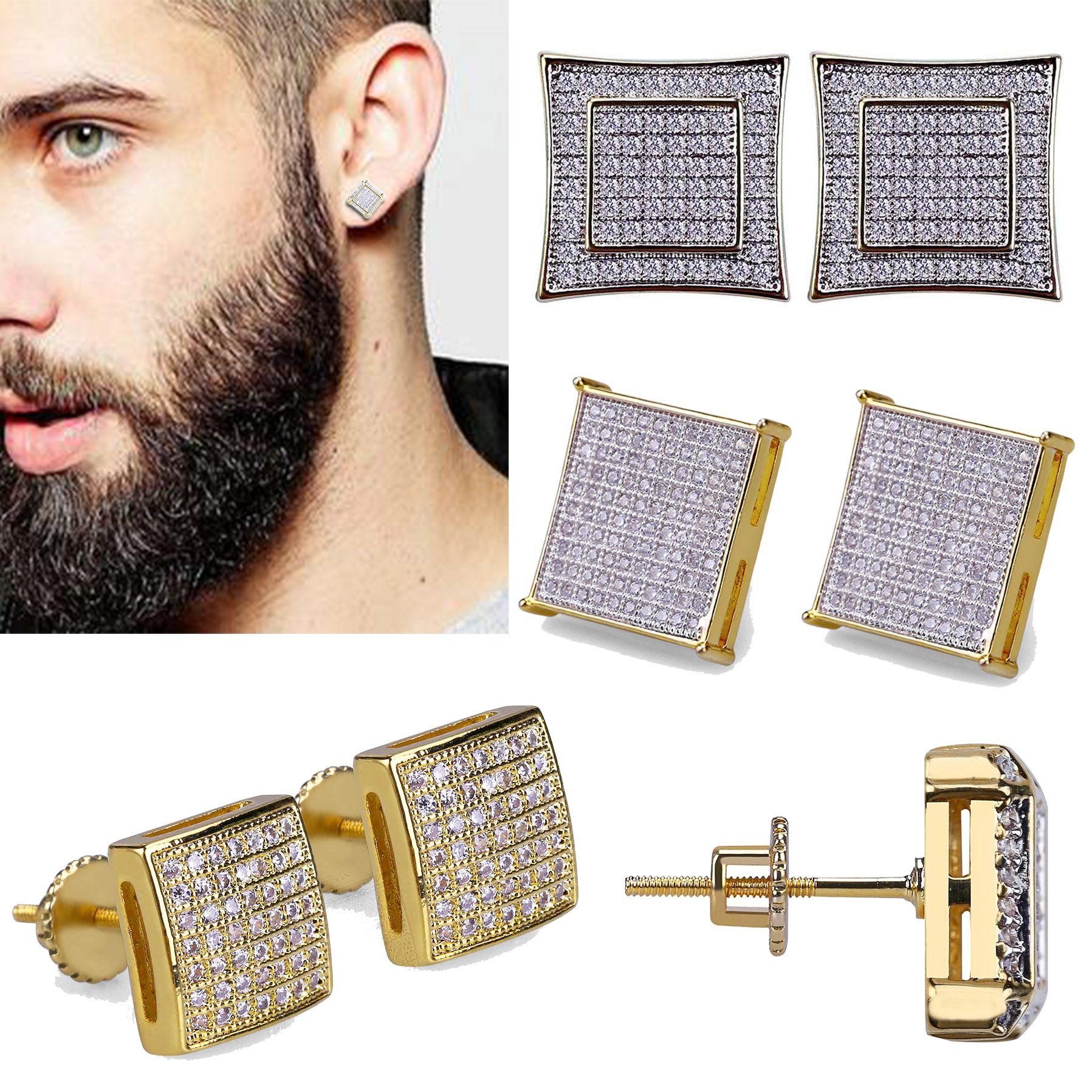 18K Real Gold Hiphop CZ циркон площади серег 0.7-1.6cm для мужчин и женщин девочек подарки Бриллиантовые серьги Коты Punk Rock Рэпер ювелирные изделия