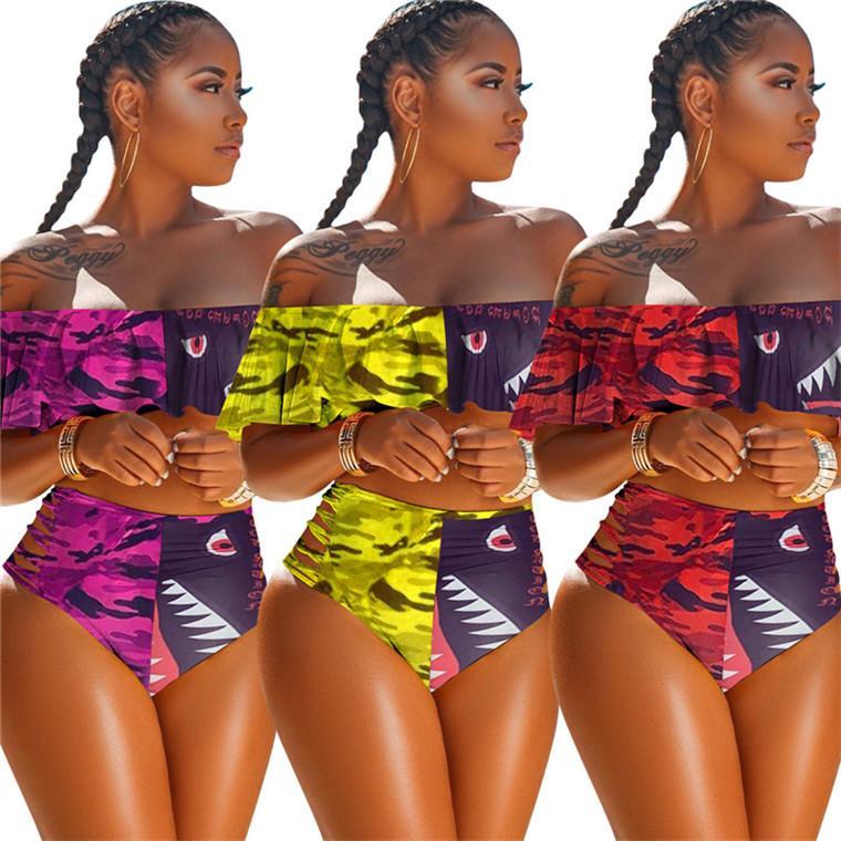 Donna 2 Swimwear pezzo Designer balza Bra e Hipster lusso Bikini Swimsuit Camo Shark Beachwear di nuotata costume da bagno tutina D6204 caldo