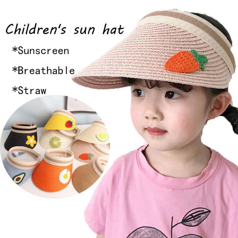 Симпатичные летние соломенные шляпы для малышей Пустых цилиндров Sun для gorras Девочки Мальчики Пляж Панамы козырек Hat ребенка