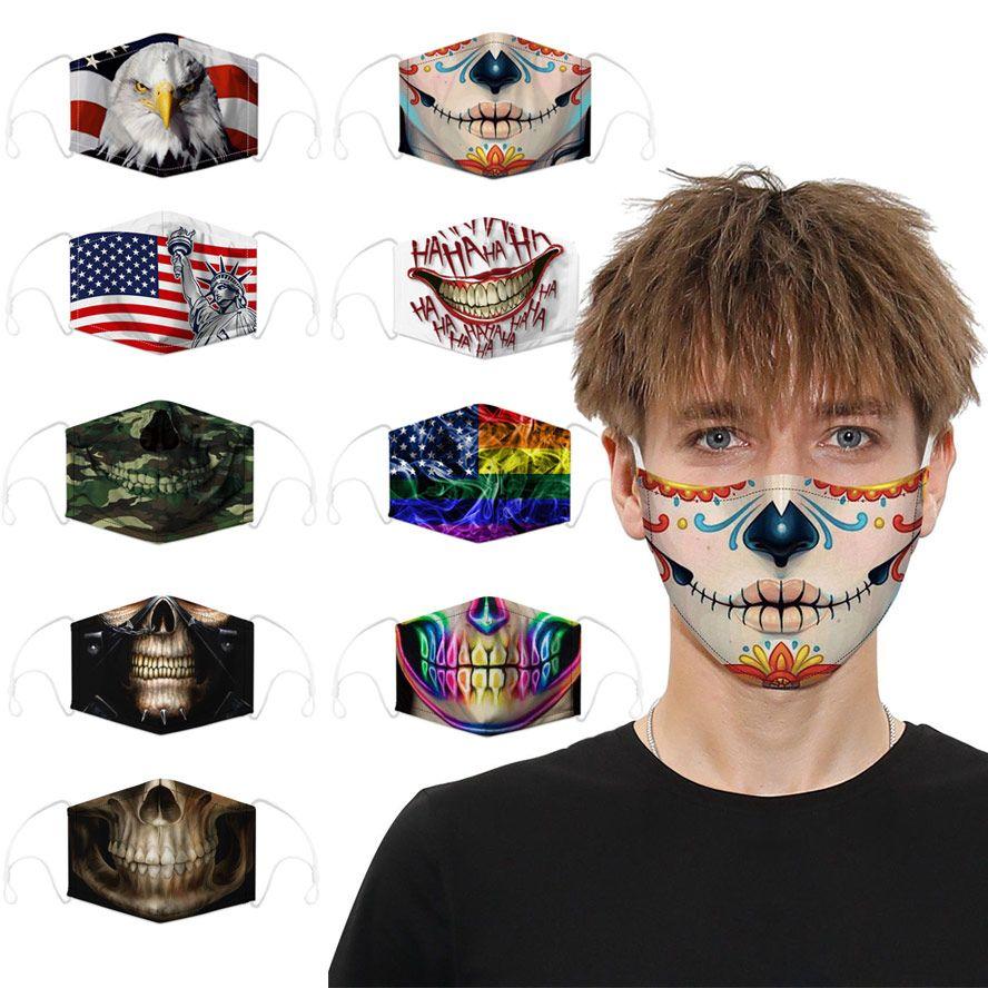 cara diseñador de moda máscara de algodón reutilizables cara máscaras bandera cráneo deportes digitales cosplay Halloween máscara de polvo a prueba de viento mascarilla