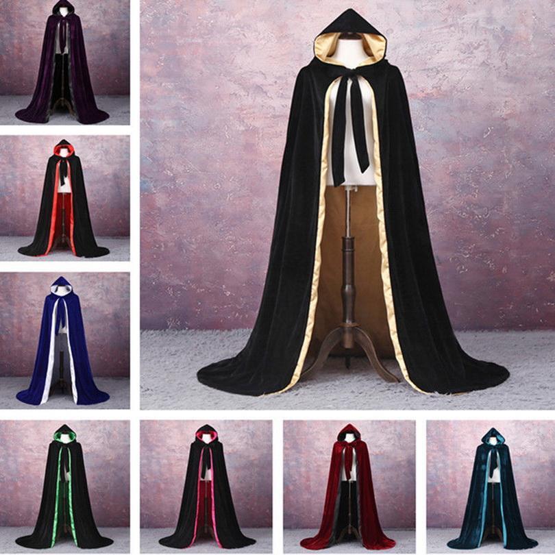 2020 Novo Manto de Veludo barato Capa Ao Ar Livre Halloween Hooded Cloak Moda Outono Casaco De Veludo Cabo De Casamento Xaile