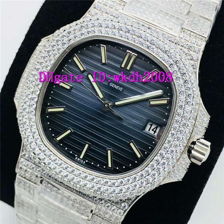 PPF Factory Nautilus 5711 Diamond Mens Watch Cal.324SC Automatic Mechanical Wristwatch 28800 VPH Sapphire 18K platinum Stainless Steel Watch