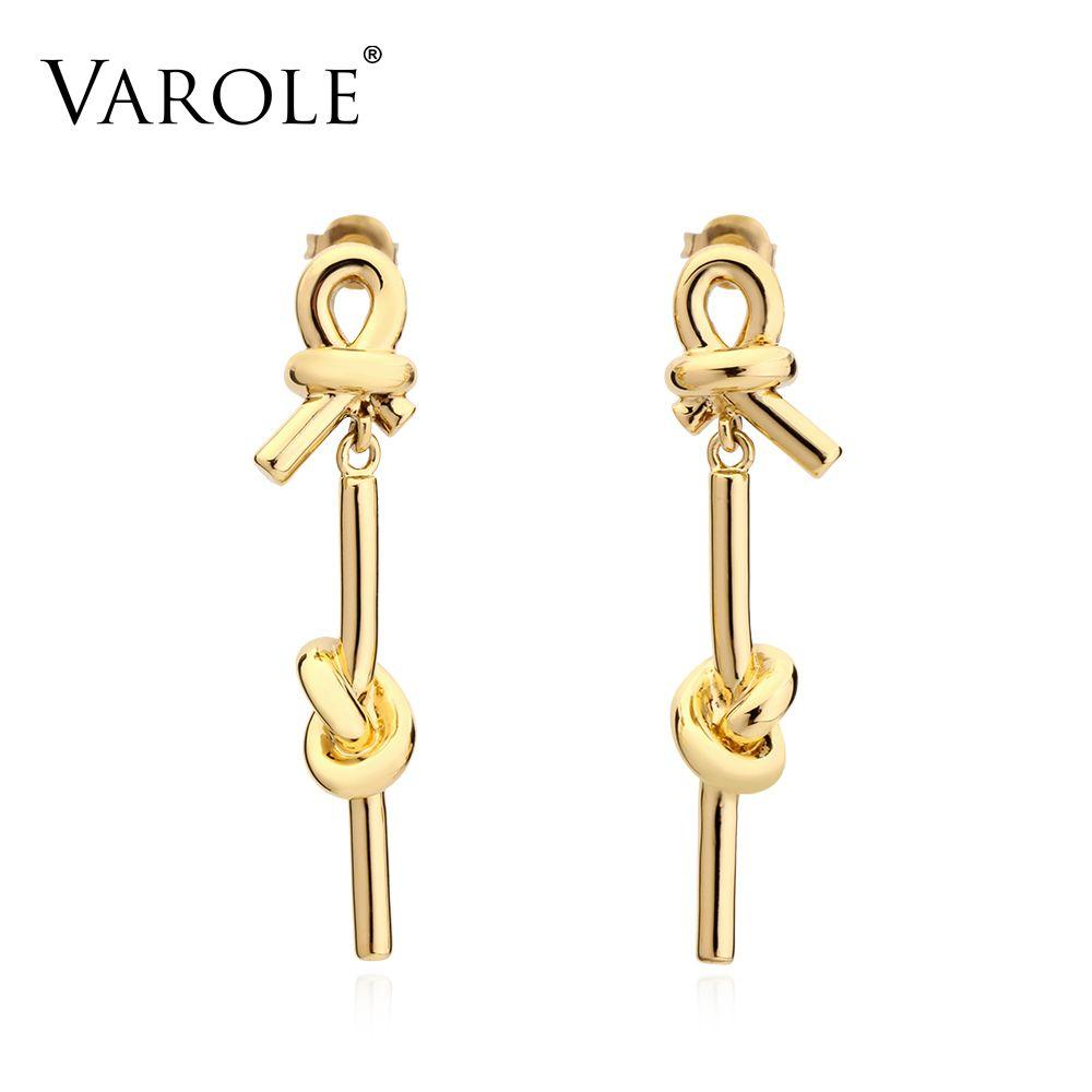 VAROLE nuevo estilo pendiente color oro 100% pendientes de cobre gota de brincos joyería de plata pendientes de las mujeres largo grande