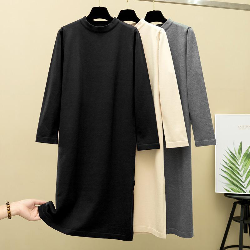 GIGOGOU Oversized Mulheres reta longa Vestido dividido O Neck casual solta Maxi Vestido Outono-Inverno elegante pulôver Vestido