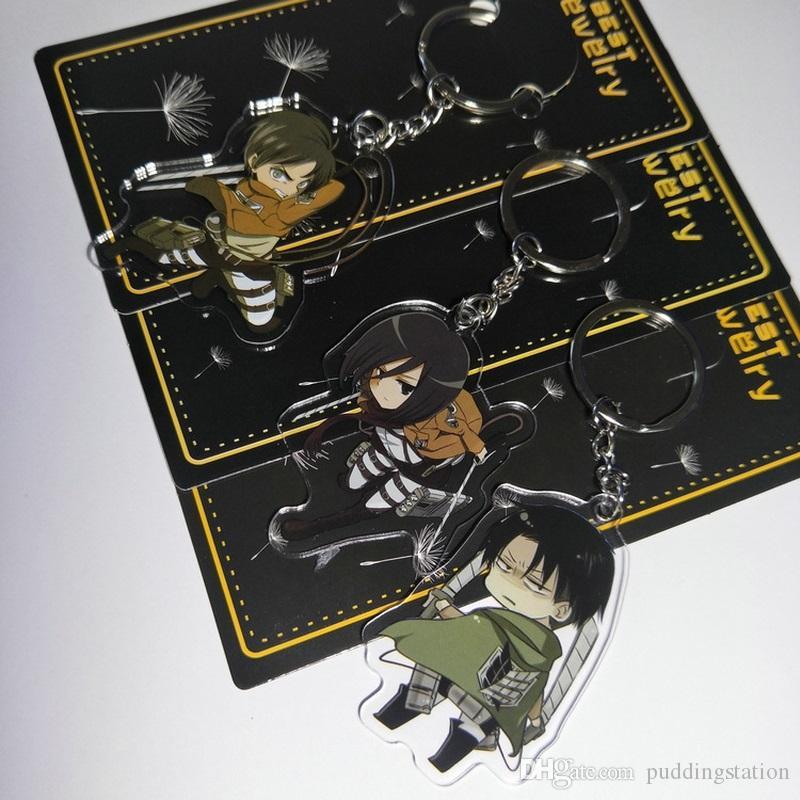 Ataque em titan anime acrílico keychain jager mikas ackerman rivaille pingente engraçado chaveiros presentes da jóia