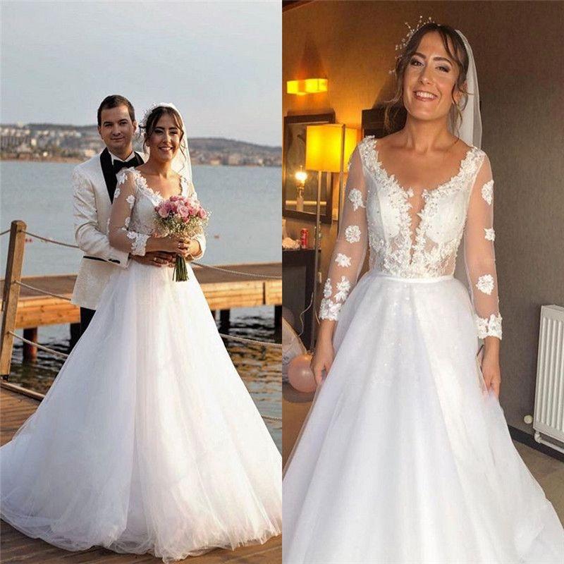 2020 Свадебное платье V шеи тюль с аппликациями длинными рукавами Пляж Boho Сад Страна Свадебные платья халата де