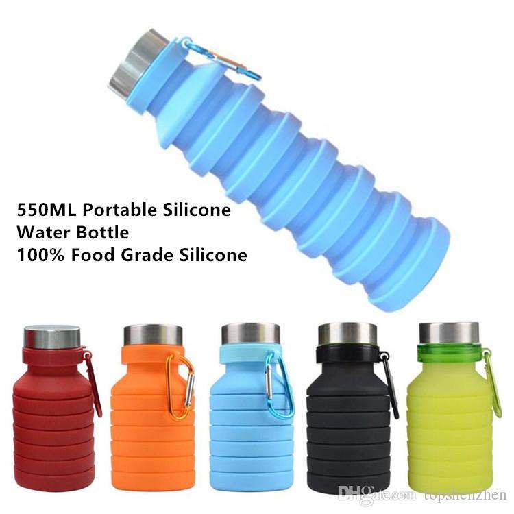 550ml 19 oz portátil retrátil Silicone Garrafa de água Folding dobrável de café da água Garrafa de viagem Beber Copos Canecas BPA