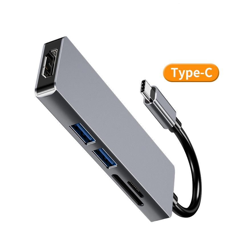 5-in-1 نوع C HUB USB C إلى منافذ الصوت USB RJ45 مع HUB TF SD قارئ MacBook Samsung Huawei جديد
