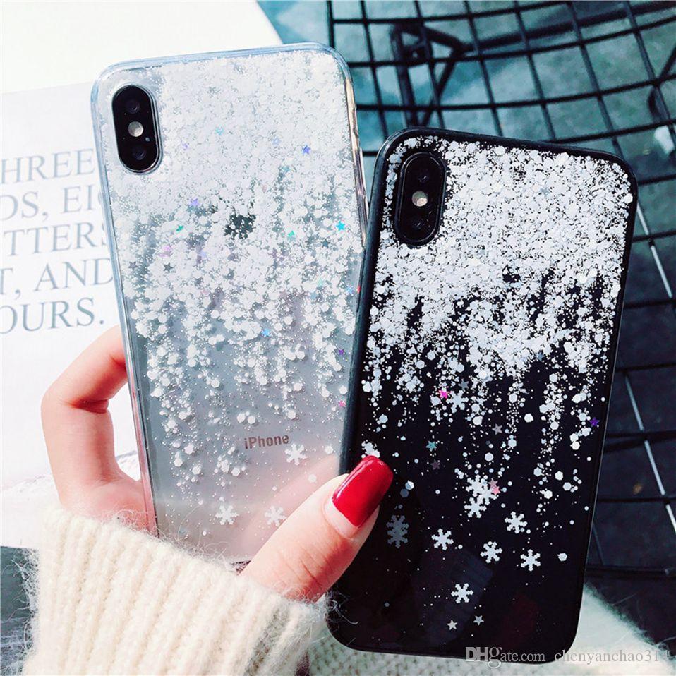 Cas de Noël pour iPhone 11 pro xs max xr x 6 6s 7 8 plus fundas doux de couverture claire flocon de neige d'hiver pour iPhone 11Pro x r de cas de