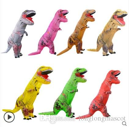 Adult T-REX Inflatable Costume Christmas Party Brown Red Dinosaur Animal Jumpsuit Mascot Halloween for Women Men LJ-004