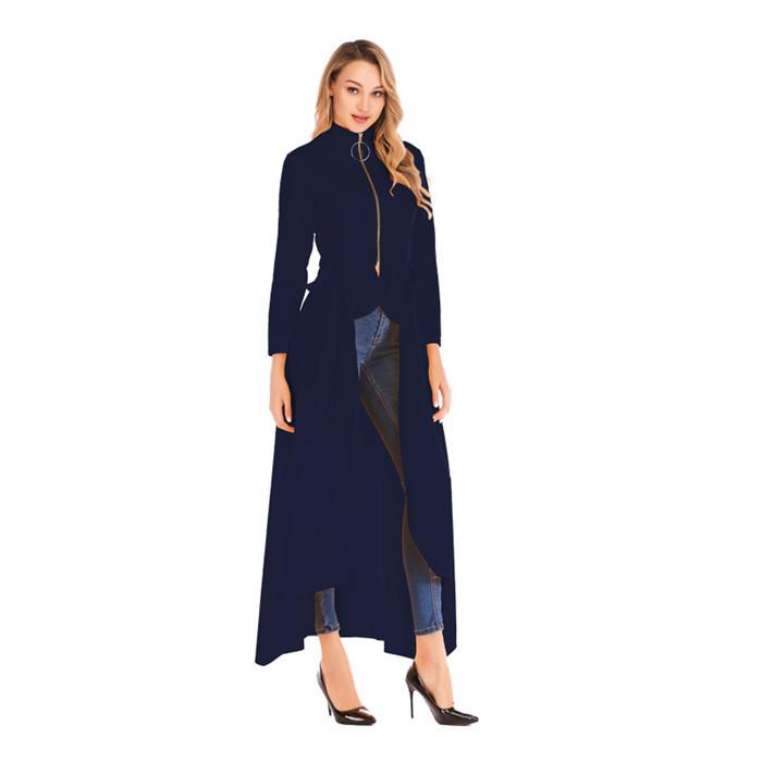 Fashion Irregularity Stand Collar Trench Coat Spring Zipper Long Sleeve Designer Coats New Casual Women Clothing