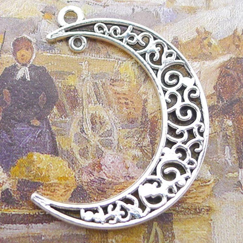 Großhandelslegierungs-antiker silberner Mond-Pendent Charme der 100pcs / lot, Handcraft Finden der zusätzlichen DIY Halskette / Armband Keychain, 30 * 40m