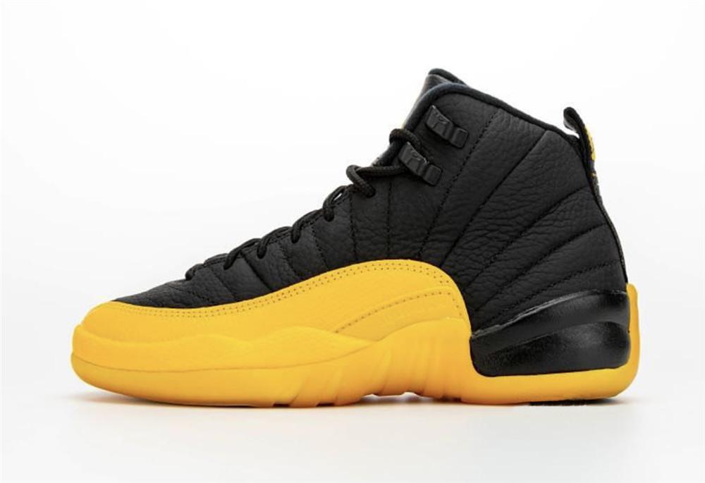2020 Release Authentic Air 12 12s University Gold Black/Black-University Gold 130690-070 Retro Men Basketball Shoes Mens Trainers New NK