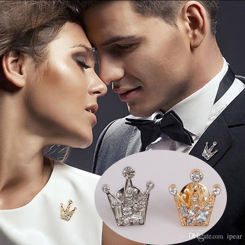 Lüks 18k altın kaplama 2cm Elmas Taç Broş Erkekler Kadın Zarif Düğün Nişan Broş Takı Ücretsiz Kargo