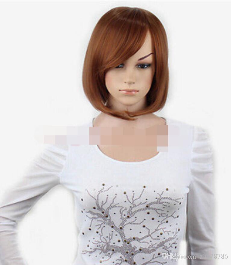 WBY Мода Новый БОБО Коричневый Короткие Прямые Женщины Sideswept Челка Полный Парики для женщин парик быстро доставить 26% скидка