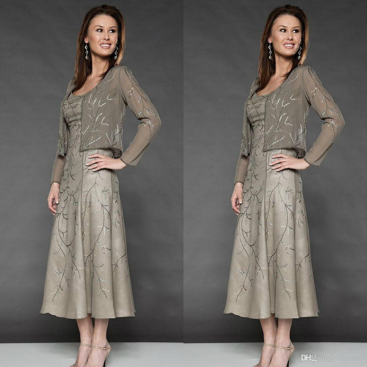 Elegant Embroidery Mother Of The Bride Dresses Beaded Scoop Neckline Tea-Length Occasion Dress With Jacket For Wedding