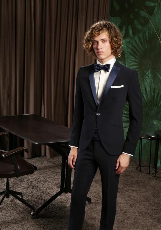 New Fantastic Style One Button Black Wedding Groom Tuxedos Peak Lapel Groomsmen Mens Dinner Blazer Suits (Jacket Pants Tie )287