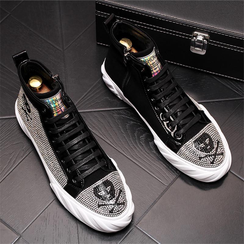 Sıcak Satış-Men Bilek Boots Yüksek Kalite Kafatası Baskı Yuvarlak Burun Düz Topuk Ayakkabı Moda Hip Hop Klasik Boots 10 # 32D50