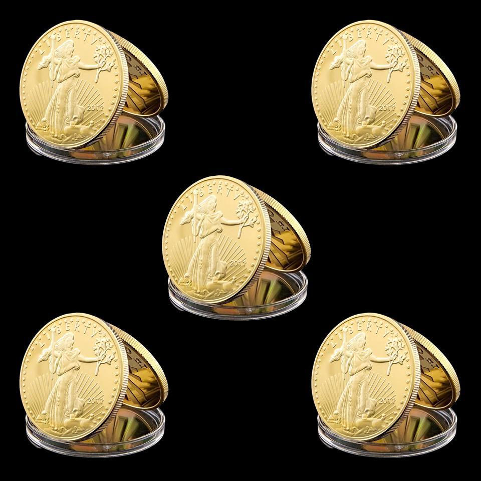 5 pz USA American Gold Placcato Artigianato da collezione Coin Liberty Eagle Commemorative Art Craft per regalo d'affari