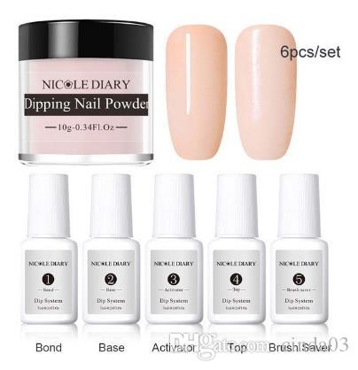 6Pcs/Set Dipping System Dip Nail With Base Top Activator Brush Saver Liquid Natural Dry Without Lamp Glitter
