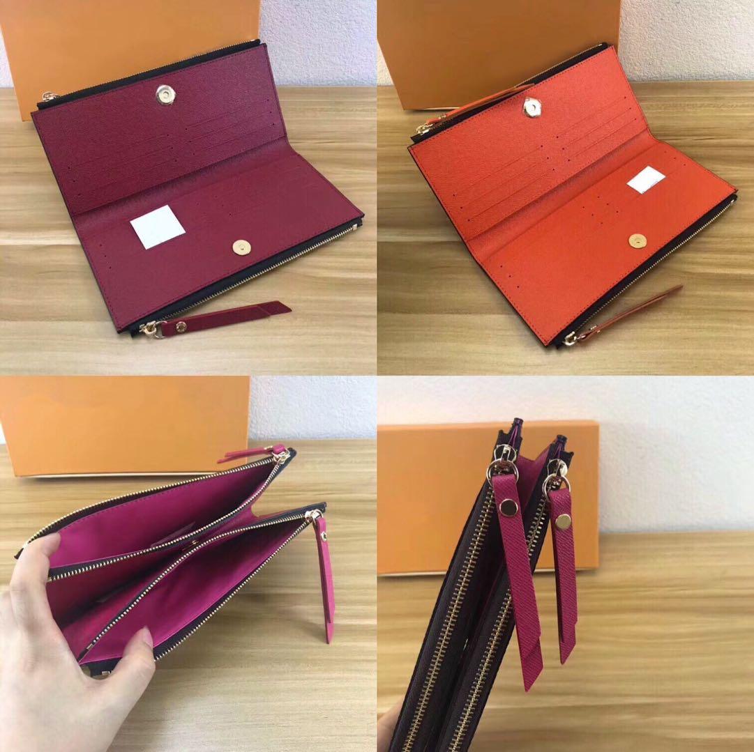 Designer-klassische Damen lange Mappe für Frauen Mehrfarben Designer Geldbörse Kartenhalter Paket original Damen Reißverschluss Brieftasche