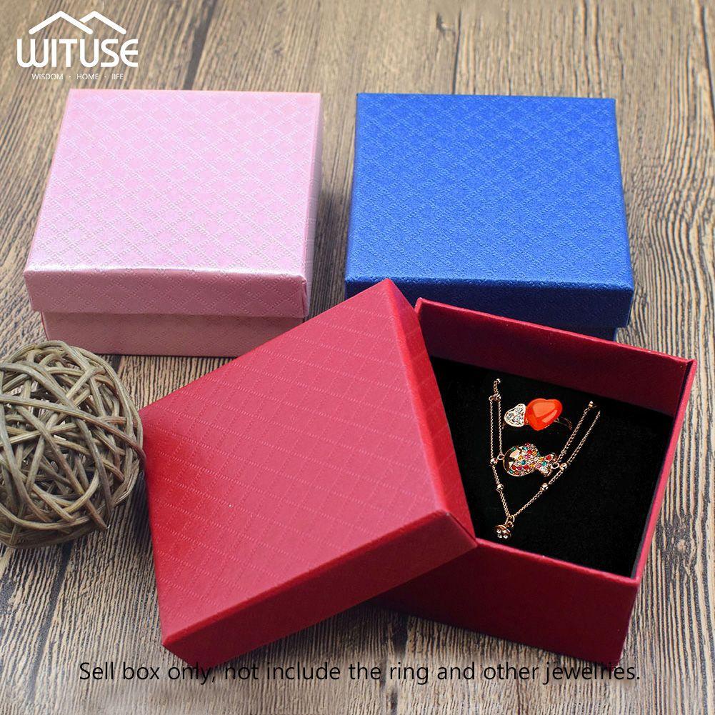 24pcs / lot Jewelry Box Black Box Colar por anel de presente de papel Jóias Embalagem Pulseira Brinco Display com esponja