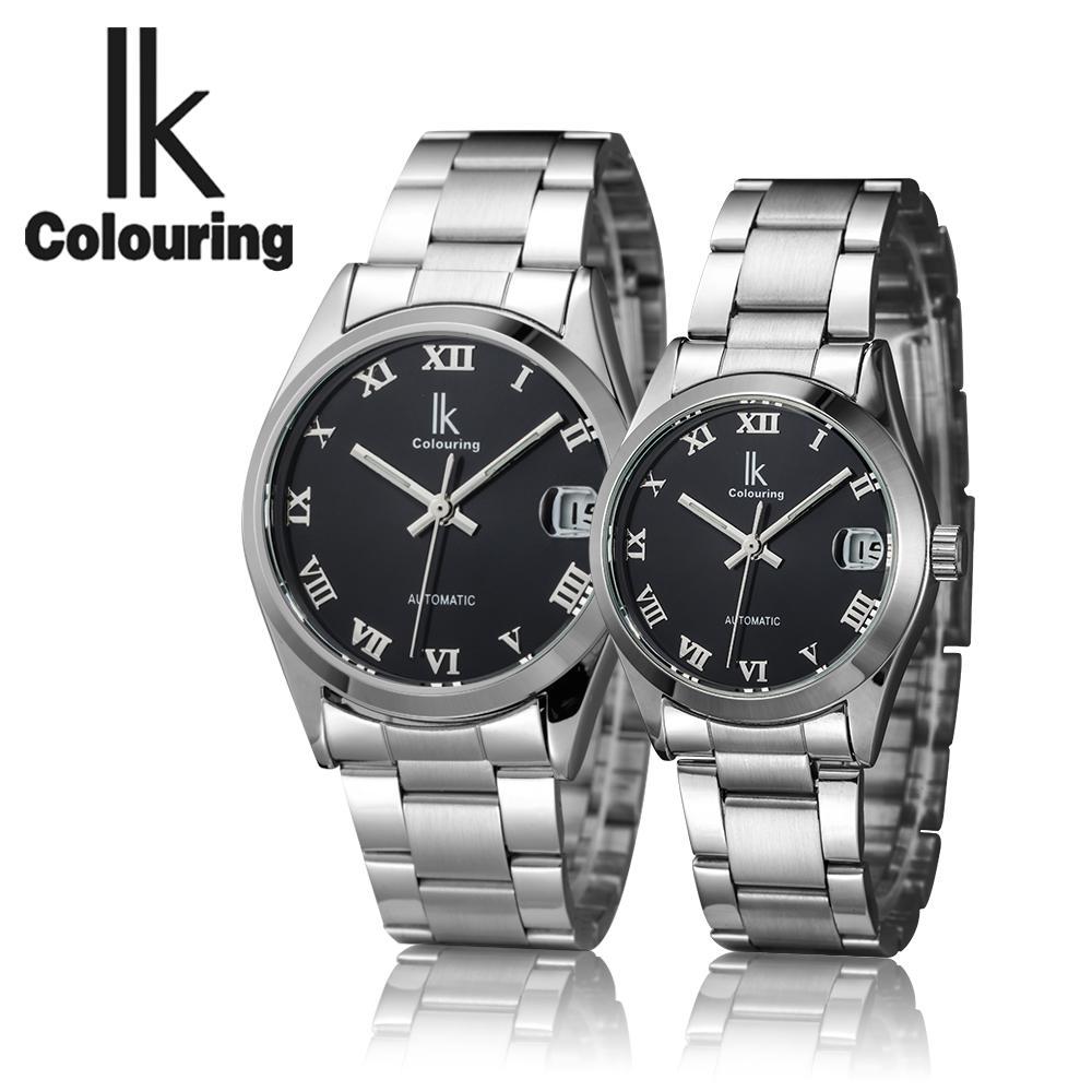 IK 연인을위한 최고의 브랜드 자동 기계 시계 남성 스테인레스 스틸 여성의 Wrsit 시계 선물 커플 시계를 착색