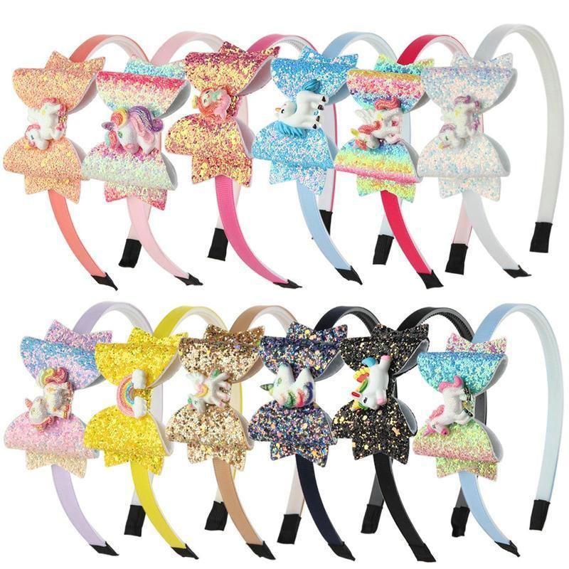 다채로운 반짝이 유니콘 활 머리띠 아이 소녀 무지개 말 머리 스틱 파티 액세서리 혼합 색상