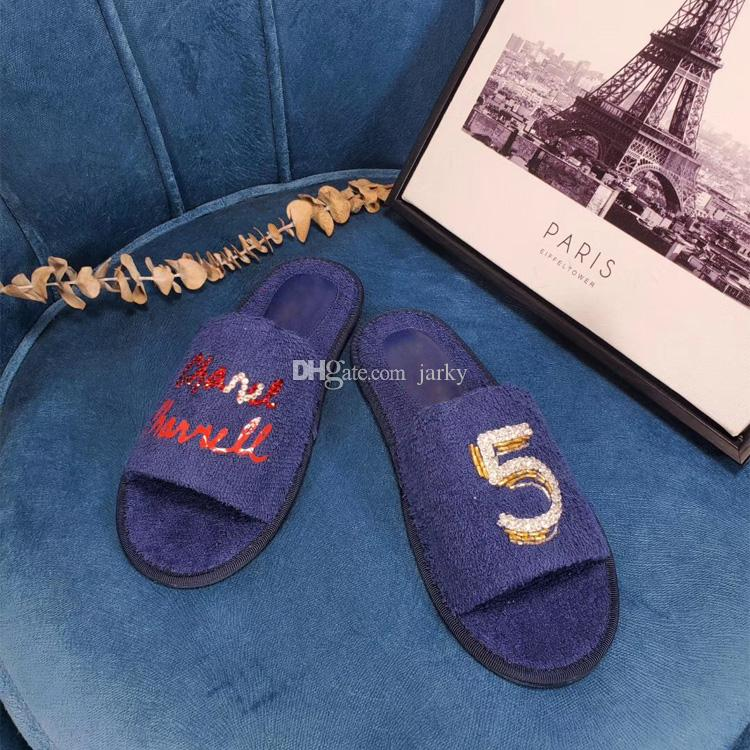 2019 Fashion Designer Slippers Indoor Men Women Personality Rhinestone Beaded Letters Color Terry Cloth Cowhide Flat Bottom Slippers 35 44 Shoes Uk Platform Boots From Jarky 66 34 Dhgate Com