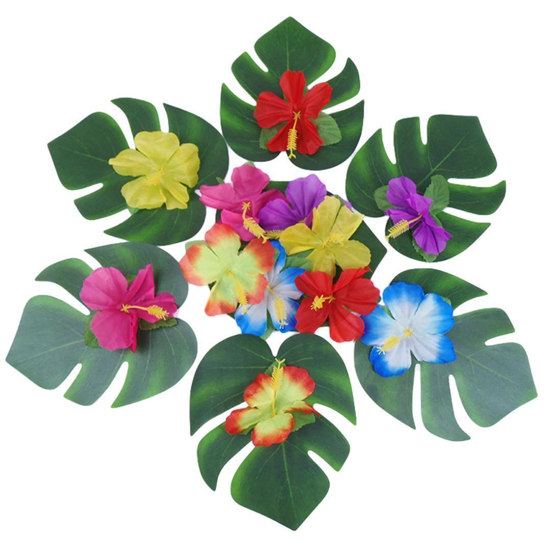 12pcs artificiels feuilles vertes Monstera feuilles de palmier pour Hawaï Décorations festives de mariage Décoration de table Plantes Feuilles fleurs