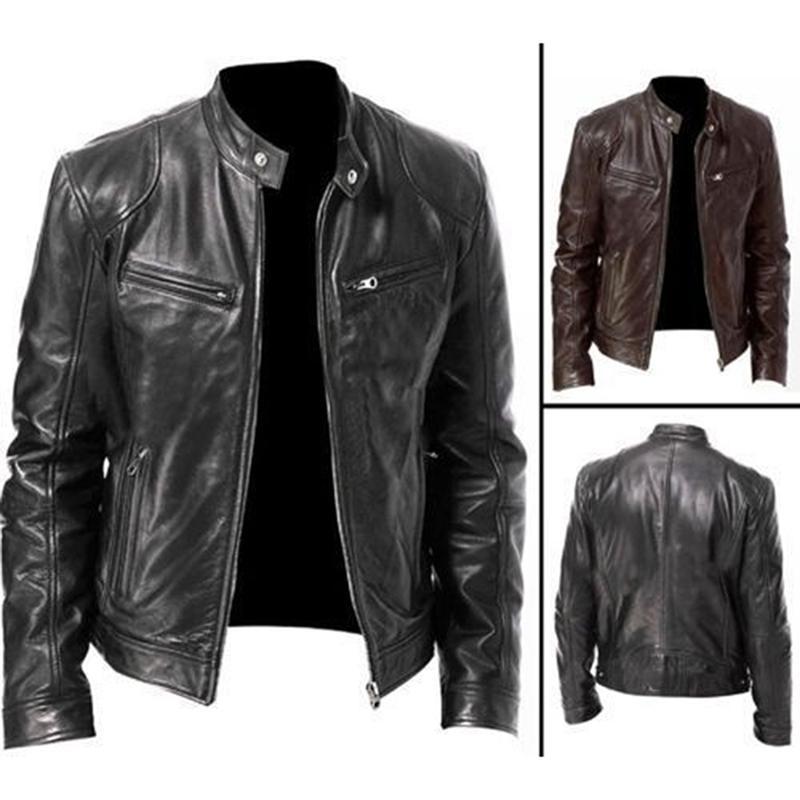 Otoño invierno para hombre de la chaqueta de cuero de los hombres capas de las chaquetas del collar del soporte de la cremallera Negro Motor del motorista de la motocicleta chaquetas de los hombres chaqueta de cuero