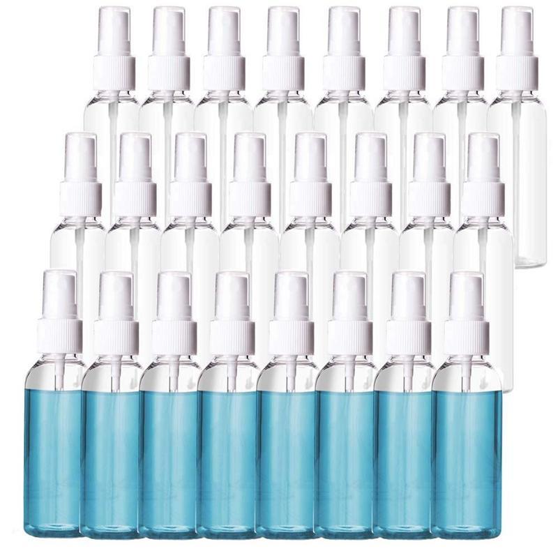 24 Paquet 2Oz en plastique transparent Bouteilles Spray 60ml bouteilles rechargées Rechargeables fine Mist Sprayer Huiles essentielles Voyage