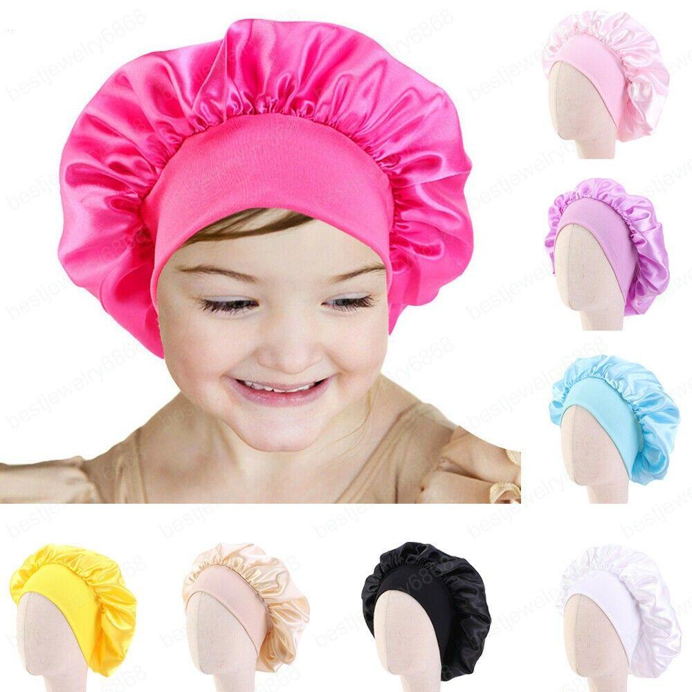Çocuklar Kızlar Saten Gece Uyku Cap Turban Geniş Bant Elastik Şapkalar Bonnet Beanie Başörtüsü Şapka Başkanı Wrap Saç Bakımı Kapak 1-6Year